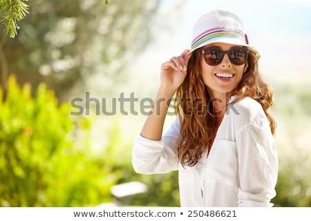 Güzellik portre yaz şapka çekici Stok fotoğraf © NeonShot