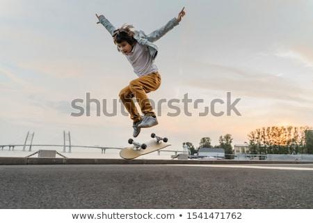 Gyerek fiú gördeszka szenzáció illusztráció kicsi Stock fotó © lenm