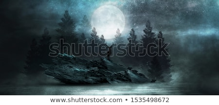 Szarvas hold csillagok kék ég égbolt fa Stock fotó © mayboro1964