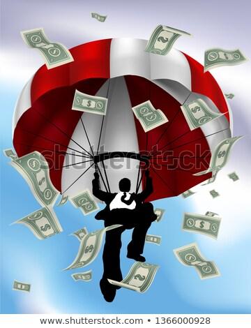 Parachuting Cash Silhouette Business Man  Stock photo © Krisdog