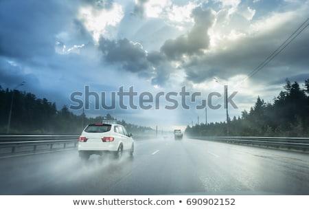sürücü · yağmur · trafik · sıkışıklığı · araba · ön · cam · ayna - stok fotoğraf © hamik