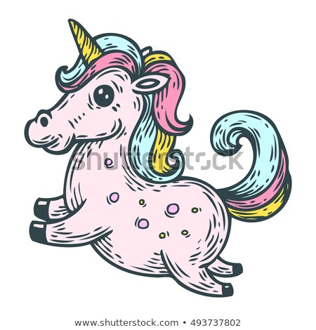 Rainbow Colored Vectorized Ink Sketch of a Horse Stock photo © cidepix