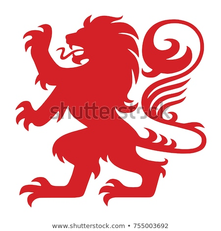 Red Lion or Leo Icon Vector Illustration Stock photo © cidepix