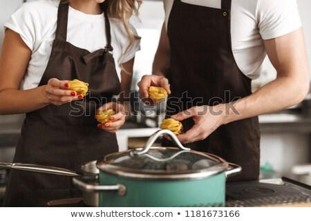 kucharz · żonglerka · papryka · funny · kolory · żywności - zdjęcia stock © deandrobot