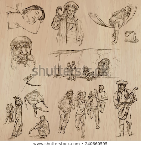 アラブ · 古い · 音楽 · セット · 女性 · 着用 - ストックフォト © toyotoyo