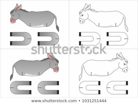 Desenho animado burro artes ilustração artes secretária Foto stock © cthoman
