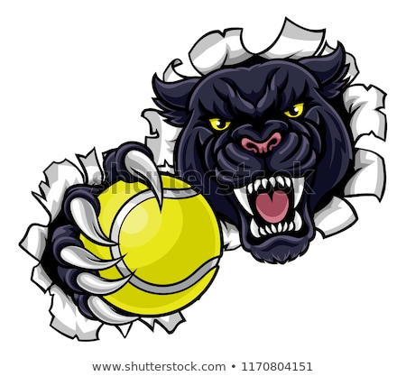 Black Panther Tennis Mascot Breaking Background Stock photo © Krisdog