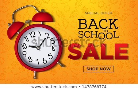 back to school sale design with alarm clock chalkboard and typography lettering on yellow backgroun stock photo © articular