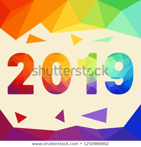 Chinese New Year 2019 low poly colorful pig card Stock photo © cienpies