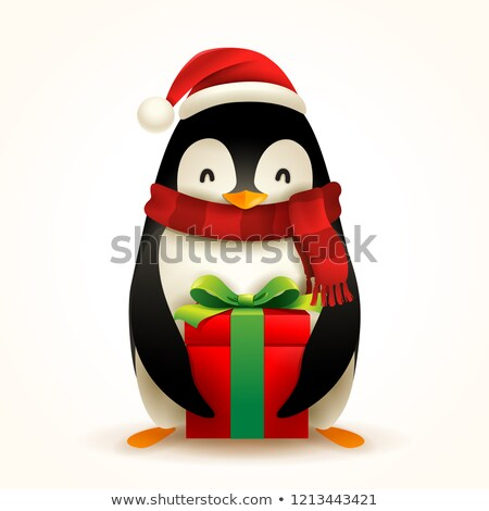 Christmas Penguin with Santa's Cap, Red Scarf and Gift Present Stock photo © ori-artiste