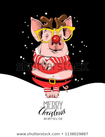 Santa, deer and piglet on Christmas night Stock photo © liolle