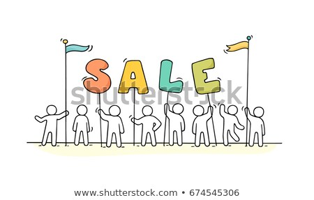 Stick figure with a red sign for sale Stock photo © Ustofre9