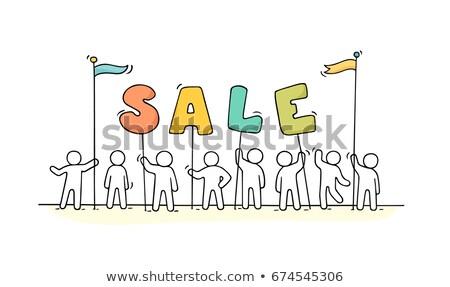 Pálcikaember piros felirat vásár üzlet vásárlás Stock fotó © Ustofre9