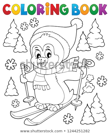 skiing penguin theme image 1 stock photo © clairev