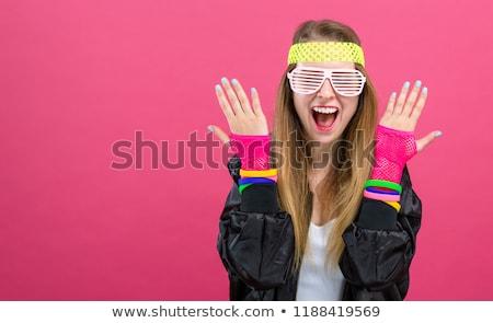 Meisjes 80s pop art retro hand gezicht Stockfoto © studiostoks