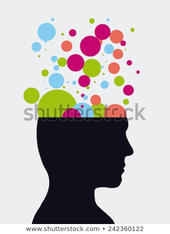 open head and brain isolated vector illustration stock photo © maryvalery