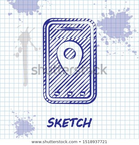 Térkép vonal rajz ikon GPS felirat Stock fotó © NikoDzhi