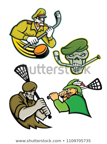 Military Warriors Lacrosse and Ice Hockey Mascot Collection Stock photo © patrimonio