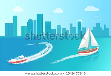船 白 キャンバス セーリング 深い 青 ストックフォト © robuart