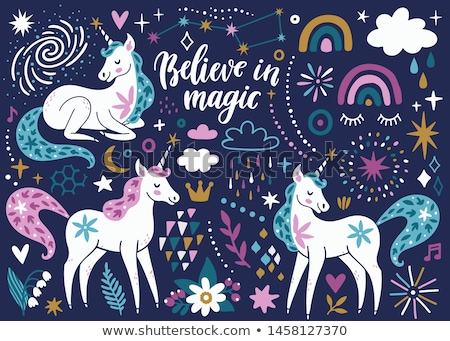 unicorn magic animal posters with text set vector stock photo © robuart