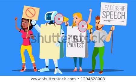 Robô megafone pessoas greve vetor isolado Foto stock © pikepicture