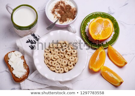 ontbijtgranen · melk · stijl · vintage · voedsel · witte - stockfoto © zoryanchik