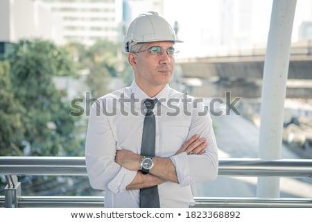 élégant maturité ingénieur regarder plan usine Photo stock © boggy