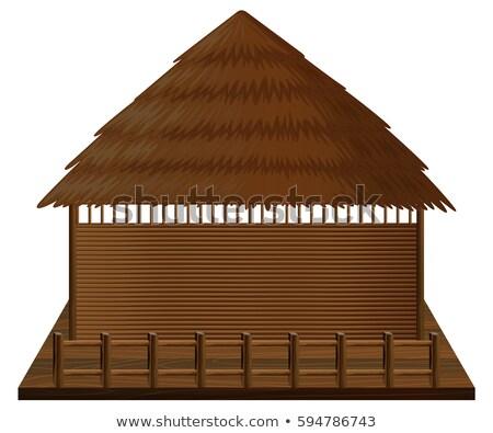 Houten hut vlot illustratie huis hout Stockfoto © colematt