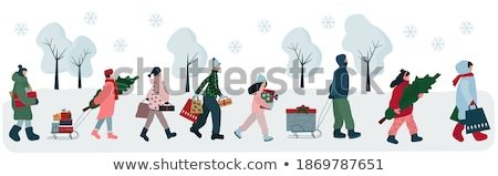 vector set of people in winter clothes stock photo © olllikeballoon