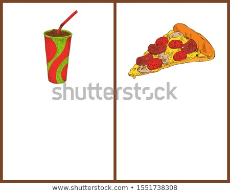 Pizza Piece and Soft Drink in Cup Colorful Poster Stock photo © robuart