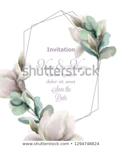 Magnolia flowers with glitter abstract frame Vector watercolor. Shiny glittering floral composition. Stock photo © frimufilms