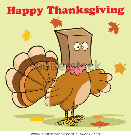 happy thanksgiving greeting with turkey bird hiding under a bag stock photo © hittoon