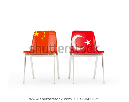 Two chairs with flags of China and turkey Stock photo © MikhailMishchenko