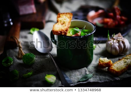 Brussels sprouts soup with bacon.dark photo Stock photo © zoryanchik