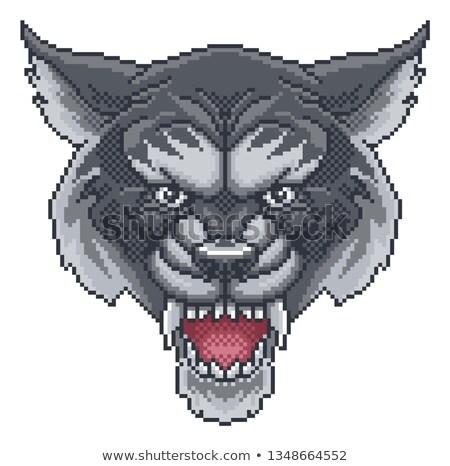 Wolf Pixel Art Arcade Game Cartoon Mascot Stock photo © Krisdog