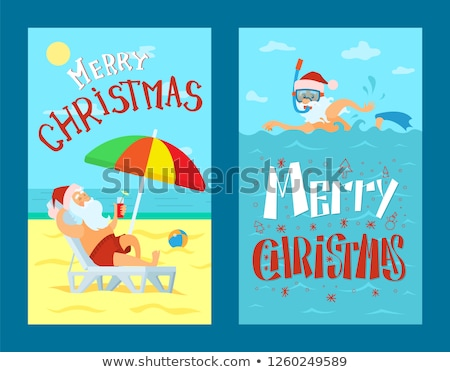 Santa Claus Lying on Sunbed Under Umbrella Vector Stock photo © robuart
