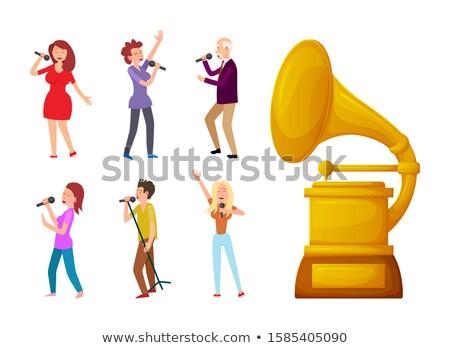 öreg · gramofon · névjegy · rajz · zene · művészet - stock fotó © robuart