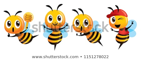 Cartoon cute bee mascot set. Cartoon cute bee showing victory sign, holding a honey dipper and weari stock photo © charactoon