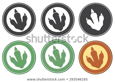 Dinosaurus voetafdruk cirkel label ontwerp tekst Stockfoto © hittoon