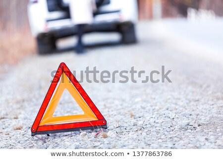 Atış kırık araba kız uyarı üçgen Stok fotoğraf © Nobilior