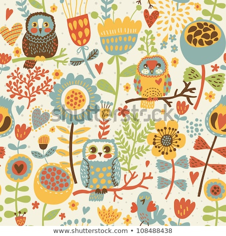 colorful spring funny vector seamless pattern with flowers and birds stock photo © brahmapootra