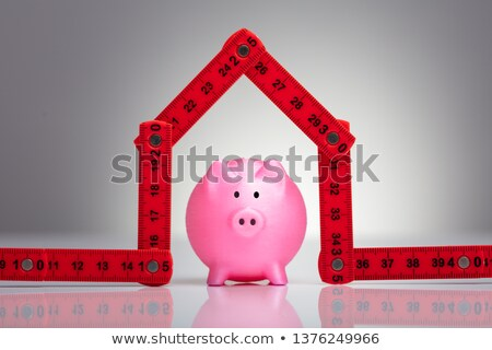 Piggybank Under The House Made With Measuring Tape Stock photo © AndreyPopov