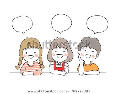 Firka fiú szöveglufi illusztráció mosoly terv Stock fotó © colematt