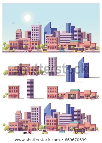 Set of flat urban scene Stock photo © colematt