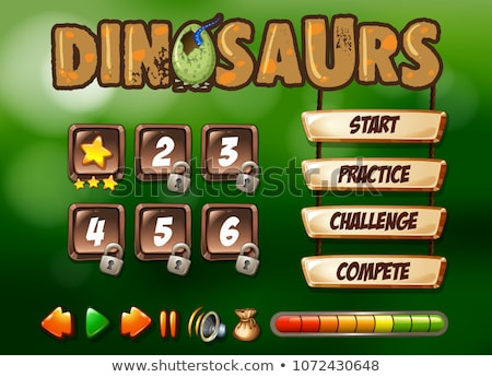 Dinosaurs Game Template Starting Page Stock photo © colematt
