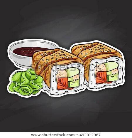 vector sushi color sticker canada roll stock photo © netkov1