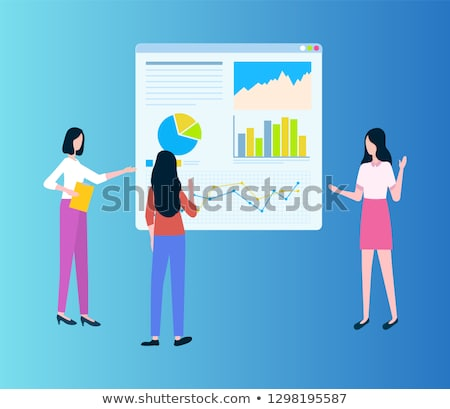 Workteam of Women Showing Diagrams on Board Vector Stock photo © robuart
