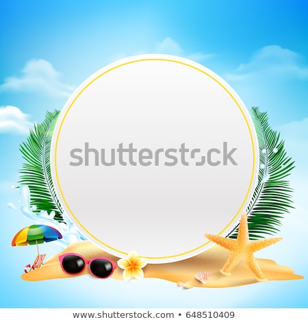 Vector Summer Time Holiday Illustration With Flower And Tropical Palm Leaves On Ocean Blue Backgroun Stok fotoğraf © articular