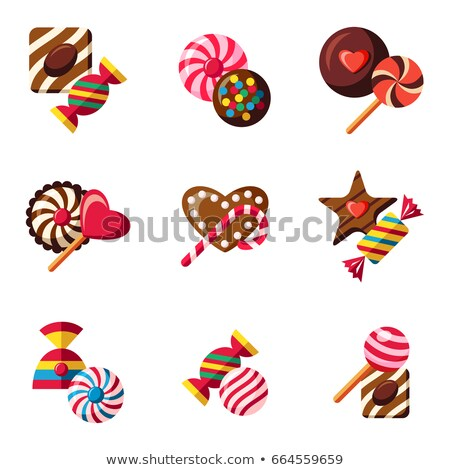 Digital vector red brown sweet candies icons Stock photo © frimufilms