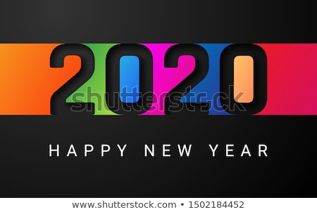 happy new year 2020 card numbers with cool design elements stock photo © ussr